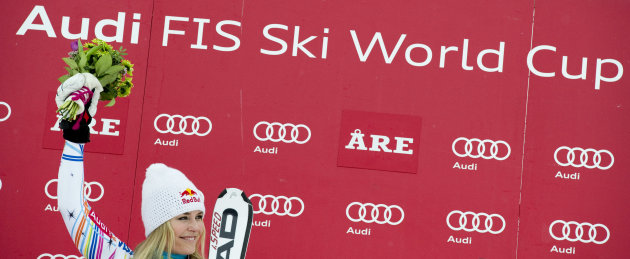 Lindsey Vonn of the US reacts during the winners presentation after the FIS Alpine Ski World Cup women's giant slalom in Are, Sweden, on March 9, 2012.  Lindsey Vonn of the United States clinched the