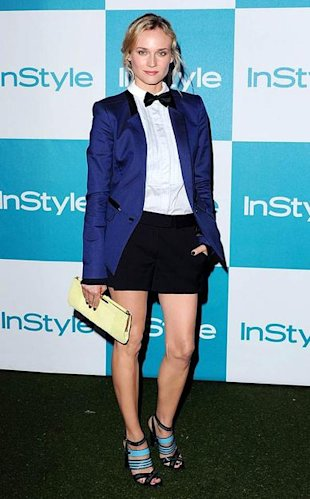 Diane Kruger in a Jason Wu tuxedo shirt, jacket and shorts
