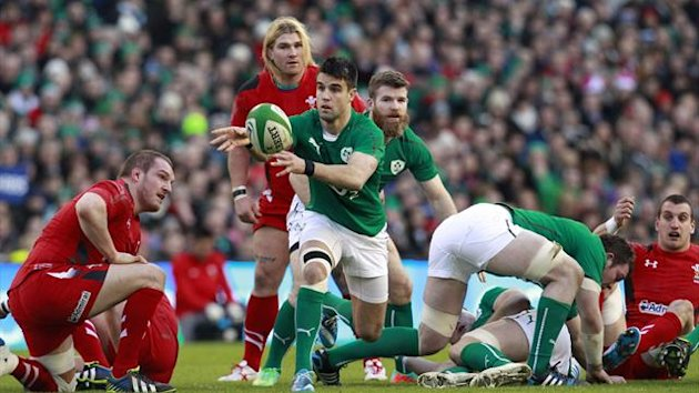 Ireland's Conor Murray (C) clears the ball against Wales in their Six Nations rugby union match at Aviva stadium (Reuters)