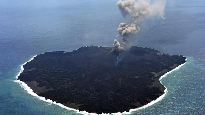 The newly-created Nishinoshima island at the Ogasawara island chain, 1,000 kilometres south of Tokyo, pictured on March 25, 2015