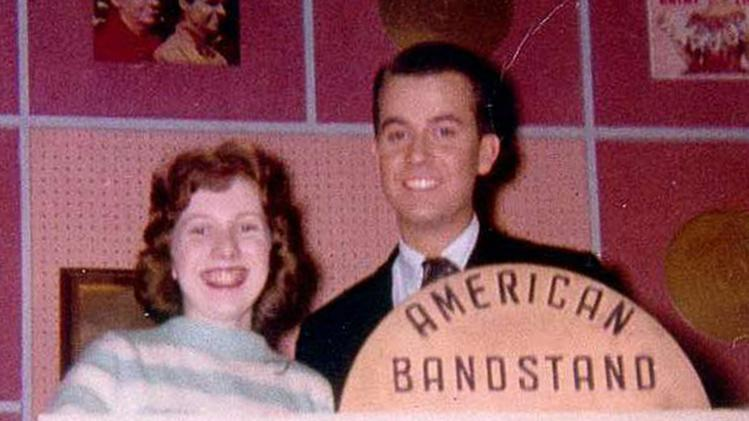 A teenage Linda Deutsch poses with Dick Clark on the set of American Bandstand in January, 1959 in Philadelphia. She presented a petition for an all-Elvis show. (AP Photo/Asbury Park Press)