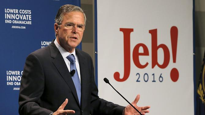 U.S. Republican presidential candidate Jeb Bush speaks about health care reform at the Institute of Politics at Saint Anselm College in Manchester