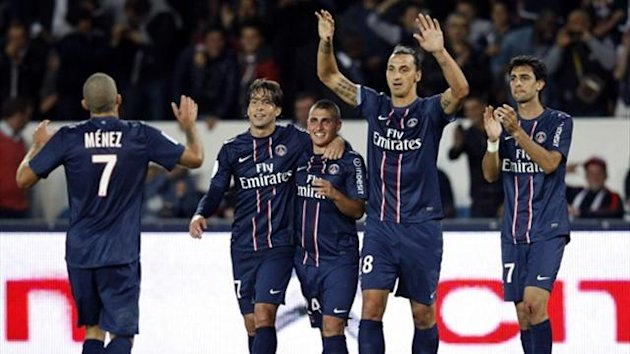 Paris St Germain&#39;s Zlatan Ibrahimovic (2nd R) celebrates with teammates Jeremy Menez (L), Maxwell (2nd L), Marco Verratti (C) and Javier Pastore his goal against Toulouse (Reuters)