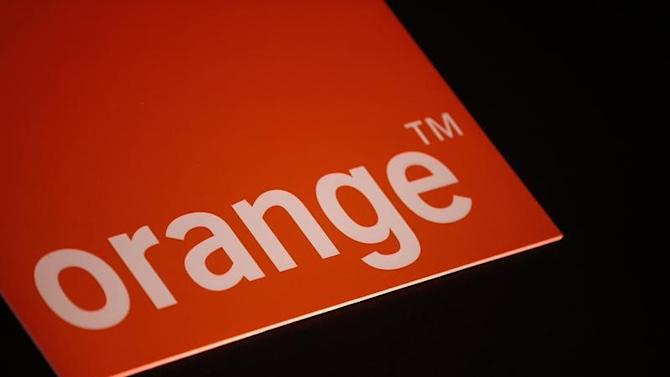 The logo of French telecom operator Orange is seen during the company's 2013 annual results presentation in Paris