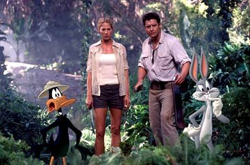 Daffy Duck, Jenna Elfman , Brendan Fraser and Bugs Bunny of Warner Bros. Looney Tunes: Back in Action
