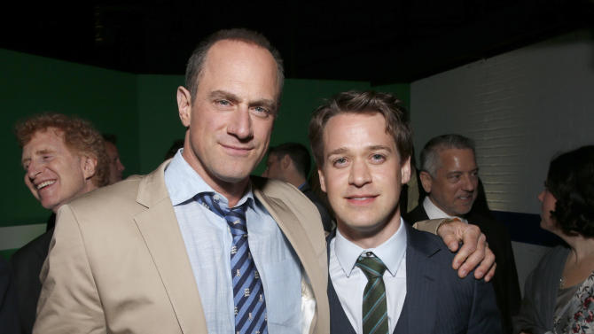 """Christopher Meloni and T.R Knight attend the after party for the LA premiere of """"42"""" at the TCL Chinese Theater on Tuesday, April 9, 2013 in Los Angeles. (Photo by Todd Williamson /Invision/AP)"""