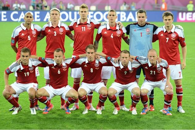 Danish Team (LtoR, Up To Bottom) Danish Defender Simon Poulsen, Danish Defender Simon Kjær, Danish Forward Nicklas AFP/Getty Images