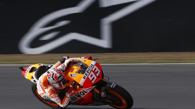 Honda MotoGp rider Marc Marquez of Spain takes a corner ahead of the British Grand Prix at the Silverstone Race circuit August 31, 2013 (Reuters)