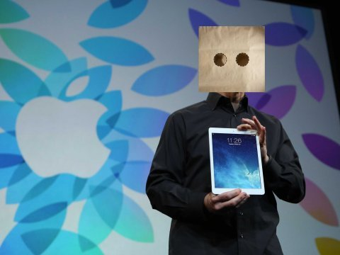 Tim Cook with a bag on his head