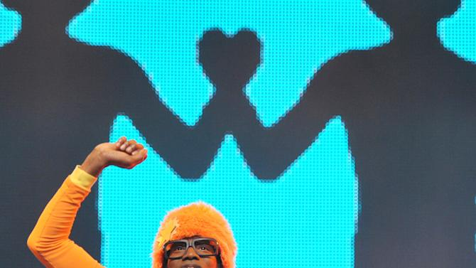 DJ Lance Rock, left, and Plex perform onstage at Yo Gabba Gabba! Live!: Get The Sillies Out! 50+ city tour kick-off performance on Thanksgiving weekend at Nokia Theatre L.A. Live on Friday Nov. 23, 2012 in Los Angeles. (Photo by John Shearer/Invision for GabbaCaDabra, LLC./AP Images)