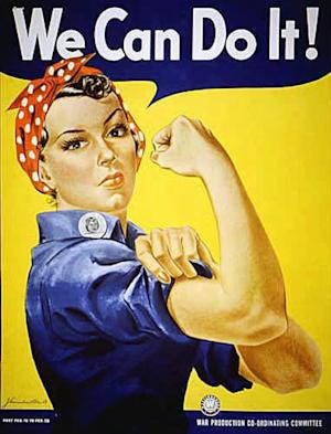 """Rosie the Riveter"" dressed in overalls and bandanna was introduced as a symbol of patriotic womanhood in the 1940's. Rose Will Monroe played ""Rosie the Riveter,"" the nation's poster girl for women joining the work force during World War II. Monroe was working as a riveter building B-29 and B-24 military airplanes at the Willow Run Aircraft Factory in Ypsilanti, Mich., when she was asked to star in a promotional film about the war effort. The bomber plant west of Detroit was where, at President Franklin Roosevelt's urging, Ford Motor Co. switched from making cars to planes and produced one an hour _ nearly 9,000 B-24 Liberator bombers in all _ to help win the war in Europe. At the time of its 1940s construction, the plant was the largest factory in the world, employing 40,000 men and women, including Rose Will Monroe, who was believed to have been the inspiration for the famed Rosie the Riveter character. The factory went back to auto production for half a century under the General Motors name and closed for good last decade. The plan is to knock it down. But a group of donors are hoping to save at least a piece of it so they can erect a museum dedicated to Detroit's role as the ""Arsenal of Democracy."" To make that happen, though, organizers need to raise $5 million by Aug. 1. (AP Photo)"