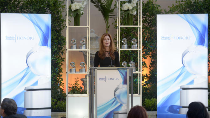 Dana Delany speaks at the 8th annual Television Academy Honors at the Montage hotel on Wednesday, May 27, 2015, in Beverly Hills, Calif. (Photo by Phil McCarten/Invision for the Television Academy/AP Images)