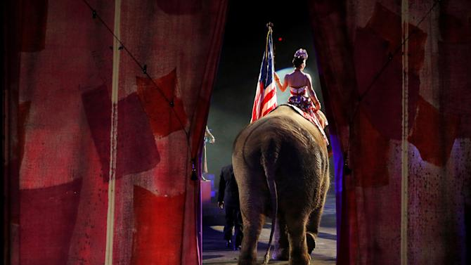 One of Ringling Bros and Barnum & Bailey Circus' performing elephants enters the arena for it's final show in Wilkes-Barre, Pennsylvania, U.S.