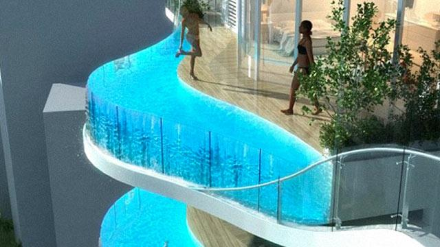 PHOTO: In India, Apartments With Balcony Pools