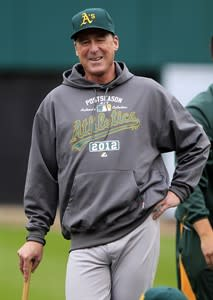 FILE - In this Oct. 5, 2012, file photo, Oakland Athletics manager Bob Melvin smiles before batting practice in preparation for Game 1 of the American League division baseball series against the Detroit Tigers in Detroit. Melvin was voted as the American League Manager of the Year on Tuesday, Nov. 13, 2012. (AP Photo/Carlos Osorio, File)
