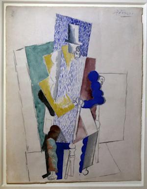 Picasso's 1914 cubist drawing L'homme au Gibus, Man with Opera Hat, is presented at Sotheby's auction house in Paris Thursday Dec. 12, 2013. An online Christmas raffle has been launched by the artist's grandson to allow fans to bid 100 euros to win the original Picasso. A total of 50,000 tickets are for sale for the chance to win the gouache painting. (AP Photo/Remy de la Mauviniere)
