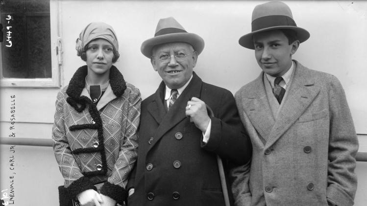 "In this undated photo provided by the Museum of Jewish Heritage - A Living Memorial to the Holocaust, Carl Laemmle is shown with his children, Rosabelle and Carl Jr. Laemmle was the founder of Universal Pictures and used his connections and resources to help bring Jews over from Europe after the rise of the Nazis. An exhibition opening at the museum on Tuesday, May 21, 2013 called ""Against All Odds: American Jews and the Rescue of Europe's Refugees, 1933-1941,"" documents efforts by Laemmle and others to get Jews out of Nazi-era Europe despite strict immigration quotas in the U.S. (AP Photo/Museum of Jewish Heritage/George Grantham Bain Collection, Library of Congress)"