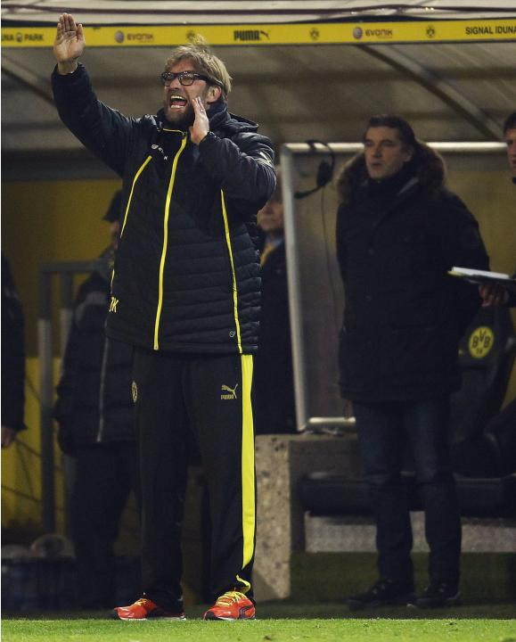 Borussia Dortmund's coach Klopp reacts during their German first division Bundesliga soccer match against Bayer Leverkusen in Dortmund