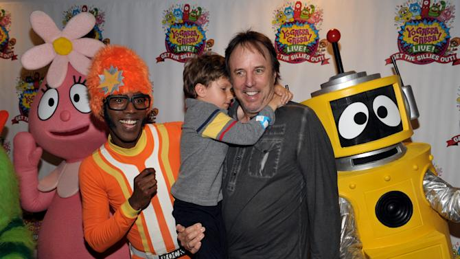 From left, DJ Lance Rock, Gable Nealon and Kevin Nealon attend Yo Gabba Gabba! Live!: Get The Sillies Out! 50+ city tour kick-off performance on Thanksgiving weekend at Nokia Theatre L.A. Live on Friday Nov. 23, 2012 in Los Angeles. (Photo by John Shearer/Invision for GabbaCaDabra, LLC./AP Images)