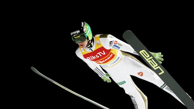 Peter Prevc of Slovenia soars in the air during a training session of the FIS Ski Jumping World Cup Flying Hill competition in Vikersund