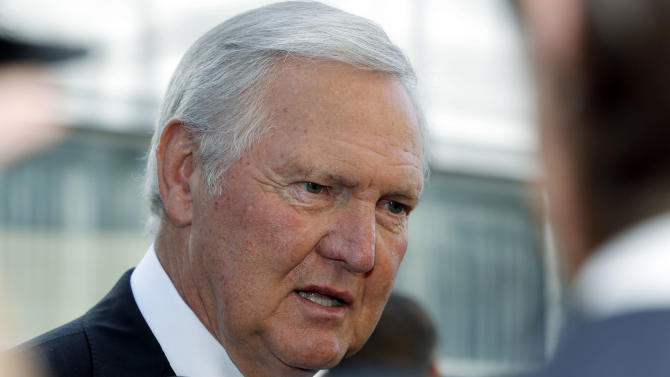 FILE - Former Los Angeles Lakers player and general manager Jerry West arrives at a memorial service for Jerry Buss in this Feb. 21, 2013 file photo taken in Los Angeles. Jerry West, Wilt Chamberlain and Goodrich were a Big Three to rival what Miami has, the core of a team that racked up routs on the way to an NBA-record 33 straight victories in the 1971-72 season. (AP Photo/Reed Saxon, File)