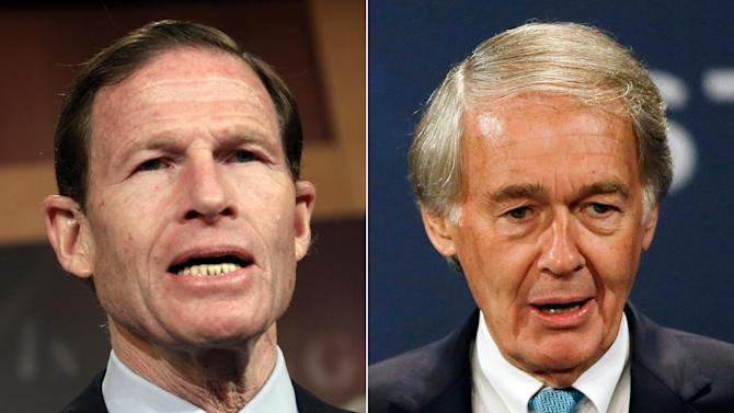 This combination made from file photos shows U.S. Senators Richard Blumenthal, D-Conn., left, and Ed Markey, D-Mass. In a letter delivered Thursday, Oct. 23, 2014, Blumenthal and Markey are calling on regulators to issue a nationwide recall of cars with faulty air bags made by Takata Corp., questioning why automakers have been allowed to limit recalls to only certain locations with high humidity. (AP Photo/Lauren Victoria Burke, Stephan Savoia)