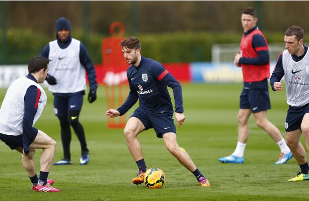 England's Jay Rodriguez controls the ball during a team training session at the Tottenham Hotspur training ground in Enfield, north of London