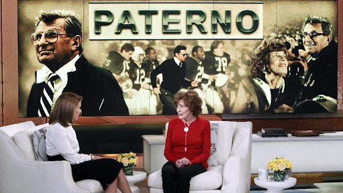 """This Feb. 6, 2013 photo released by ABC shows Sue Paterno, widow of legendary football coach Joe Paterno, right, with Katie Couric for an exclusive interview for the """"Katie"""" show in New York. Paterno is fighting back against the accusations against her husband that followed the Jerry Sandusky scandal. Her campaign started with a letter sent Friday to former Penn State players. She wrote that the family's exhaustive response to former FBI director Louis Freeh's report for the university on the Sandusky child sex abuse case will officially be released to the public at 9 a.m. Sunday on paterno.com. The interview with Couric will air on Monday, Feb. 11. (AP Photo/Disney-ABC, Lou Rocco)"""