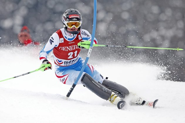 Elisabeth Goergl of Austria skis during the women's World Cup super combined slalom race in Meribel, in the French Alps