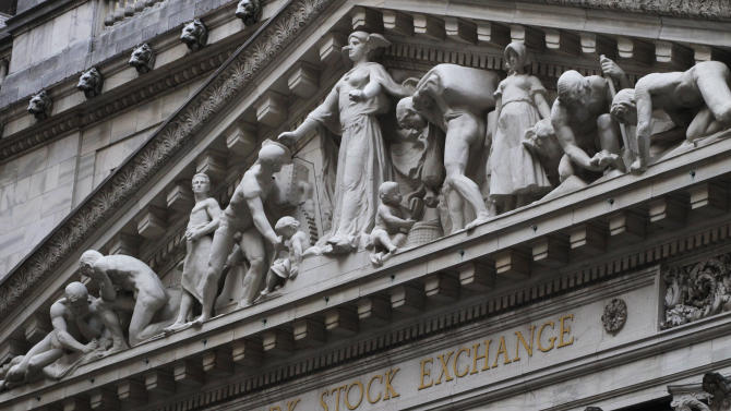 FILE - This Aug. 19, 2013 file photo shows the New York Stock Exchange in New York. Stocks edged lower in early trading Wednesday, May 14, 2014, a day after the stock market closed at a record high. (AP Photo/Mark Lennihan, File)