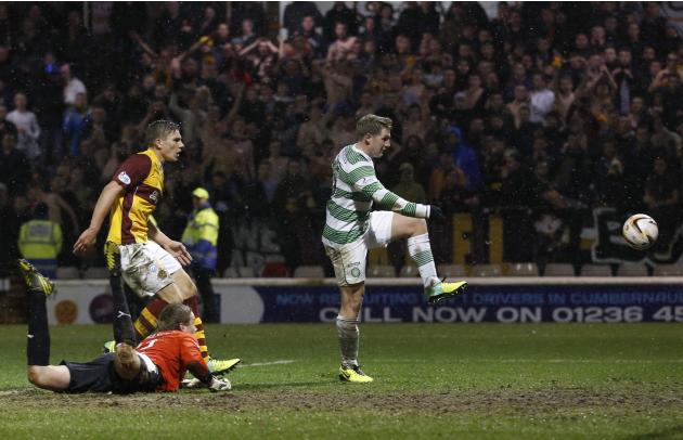 Celtic's Kris Commons scores his second goal against Motherwell during their Scottish Premier League soccer match