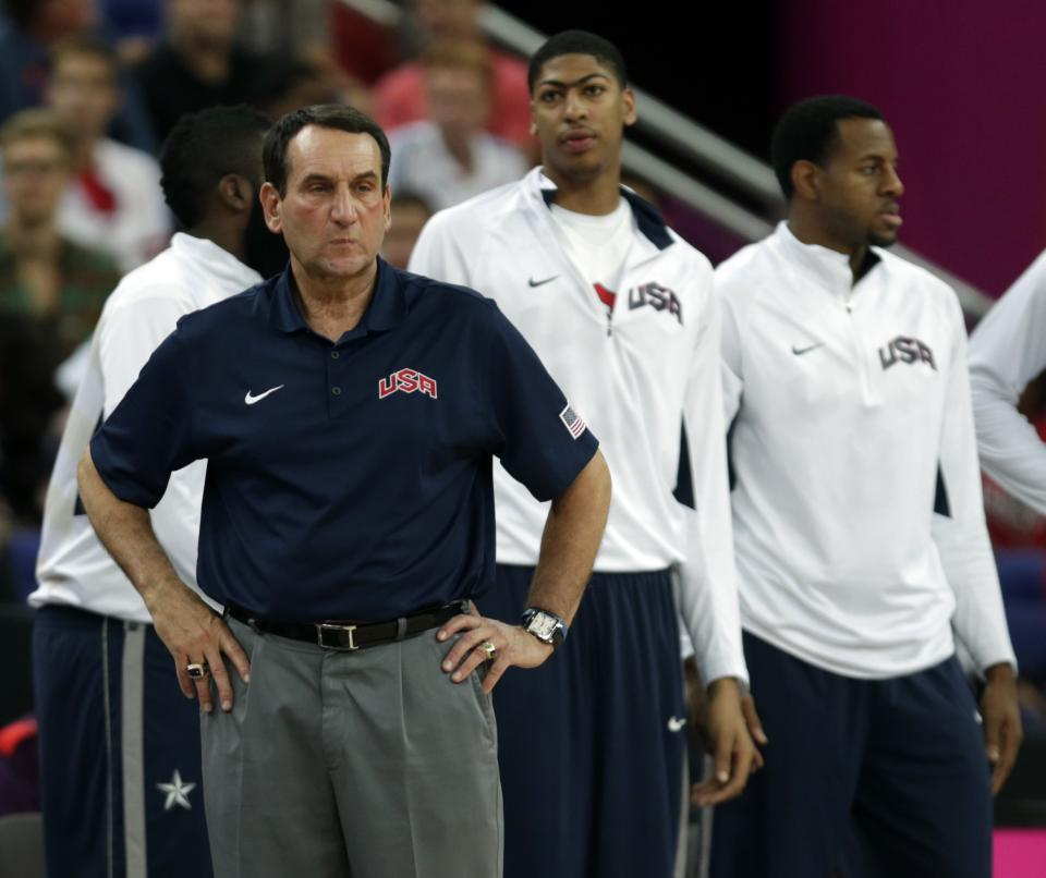 United States' coach Michael Krzyzewski watches during the men's gold medal basketball game against Spain at the 2012 Summer Olympics, Sunday, Aug. 12, 2012, in London. (AP Photo/Charles Krupa)