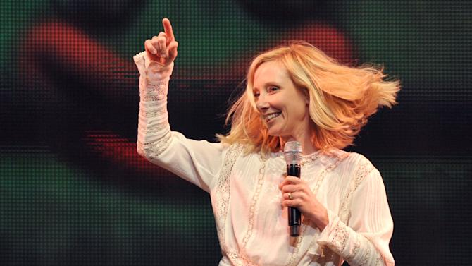 Anne Heche performs onstage at Yo Gabba Gabba! Live!: Get The Sillies Out! 50+ city tour kick-off performance on Thanksgiving weekend at Nokia Theatre L.A. Live on Friday Nov. 23, 2012 in Los Angeles. (Photo by John Shearer/Invision for GabbaCaDabra, LLC./AP Images)