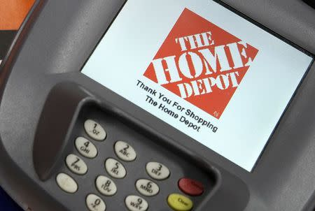 A closeup of an electronic payment station at a Home Depot store in Daly City