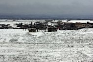 View from the Lebanese border shows snow covering the ground in the Syrian town of Heet, on March 1, 2012. Israel forces have carried out an air strike overnight on a weapons convoy from Syria near the Lebanese border, security sources tell AFP.