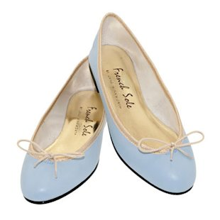 Nubuck Pale Grey Trim Ballet Flats French Sole: Blue Tones