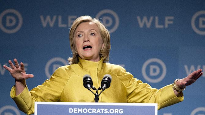 Former Secretary of State Hillary Rodham Clinton, speaks at the Democratic National Committee's  Women's Leadership Forum in Washington, Friday, Sept. 19, 2014. (AP Photo/Manuel Balce Ceneta)