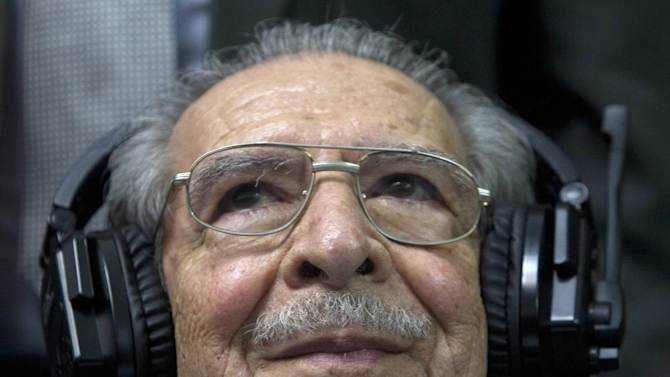 Guatemala's former dictator Jose Efrain Rios Montt sits in the courtroom before the judge reads the verdict during his genocide trial in Guatemala City, Friday, May 10, 2013. The Guatemalan court convicted Rios Montt on charges of genocide and crimes against humanity, sentencing him to 80 years in prison. The 86-year-old former general is the first former Latin American leader ever found guilty of such a charge. The war between the government and leftist rebels cost more than 200,000 lives and ended in peace accords in 1996. (AP Photo/Moises Castilo)