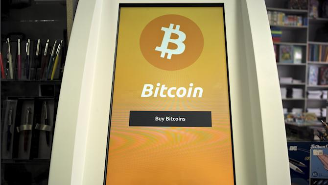 A Bitcoin ATM is seen inside a bookstore in Acharnai in northern Athens