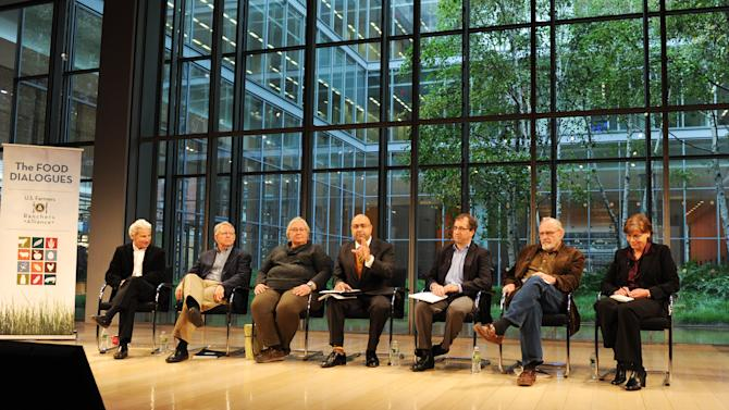 From left, Dr. Bob Goldberg, Jerry Slocum, Cheryl Rogowski, Ali Velshi, Gregory Jaffe, Fred Kirschenmann, Dr. Julie Howard attend the Food Dialogues: New York on Thursday, Nov. 15, 2012 in New York. (Photo by Evan Agostini/Invision for USFRA/AP Images)