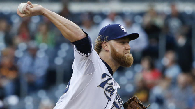 San Diego Padres starting pitcher Andrew Cashner works against the New York Mets in the first inning of a baseball game Monday, June 1, 2015, in San Diego.  (AP Photo/Lenny Ignelzi)