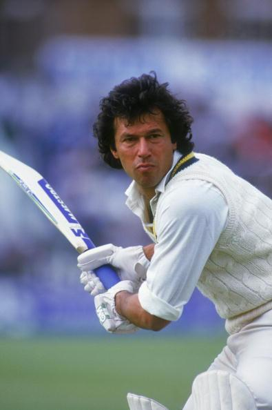 Pakistani cricketer and politician Imran Khan at the crease during a One Day International against England, circa 1985. (Photo by Bob Martin/Getty Images)