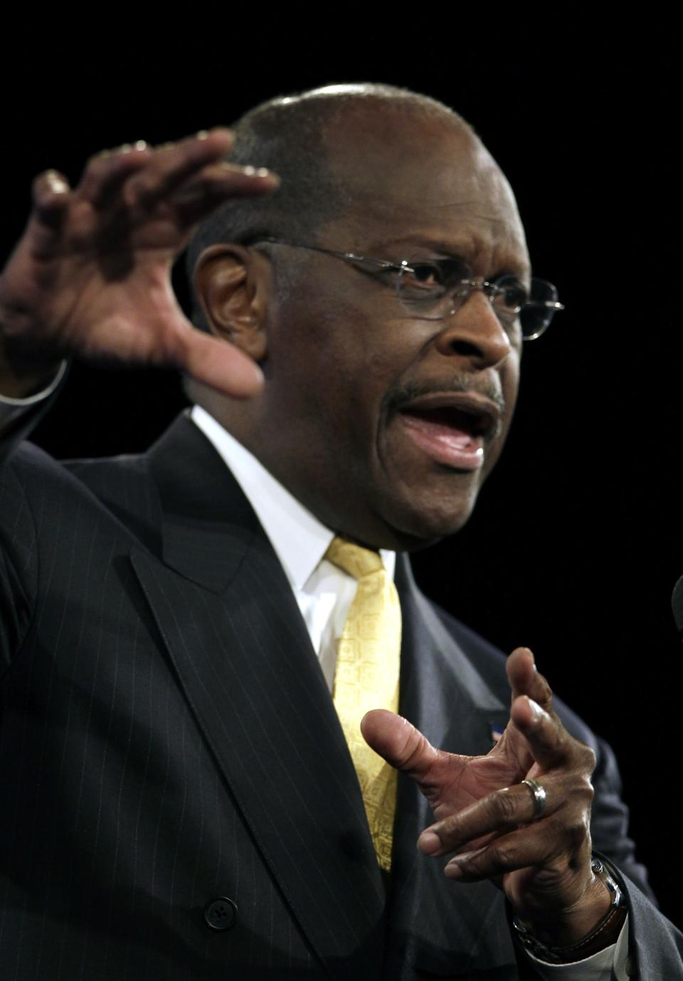Republican presidential candidate businessman Herman Cain, speaks to delegates before straw poll during a Florida Republican Party Presidency 5 Convention Saturday, Sept. 24, 2011, in Orlando, Fla. (AP Photo/John Raoux)