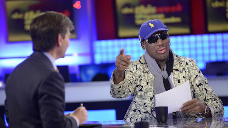 "In this Sunday March 3, 2013, photo provided by ABC television ""This Week"" host George Stephanopoulos, left, interviews former NBA star Dennis Rodman, just back from a visit with North Korea's young leader Kim Jong Un, in a studio in New York.  (AP Photo/ABC Television, Lorenzo Bevilacqua)"