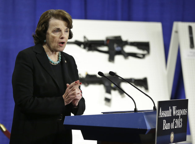 <p>               Sen. Dianne Feinstein, D-Calif. speaks during a news conference on Capitol Hill in Washington, Thursday, Jan. 24, 2013, to introduce legislation on assault weapons and high-capacity ammunition feeding devices. Congressional Democrats are reintroducing legislation to ban assault weapons but the measure faces long odds even after last month's mass school shooting in Newtown, Conn. The measure being unveiled Thursday is authored by Democratic Sen. Dianne Feinstein of California, who wrote the original assault weapons ban. That law expired in 2004 when Congress refused to renew it under pressure from the National Rifle Association.  (AP Photo/Manuel Balce Ceneta)