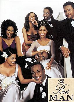 (top row) Sanaa Lathan Melissa DeSousa Harold Perrineau Jr. Terrence Howard (center) Monica Calhoun Morris Chestnut (bottom) Nia Long and Taye Diggs The poster for Universal's The Best Man