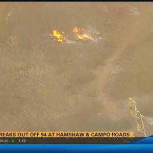 Fire extinguished off 94 at Hamshaw and Campo roads