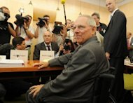 El ministro de Finanzas alemn, Wolfgang Schauble, en el proceso en el Tribunal Constitucional Federal sobre las protestas contra el Mecanismo de Estabilidad Europeo, el 10 de julio en Karlsruhe. (AFP/Dpa | Uli Deck)