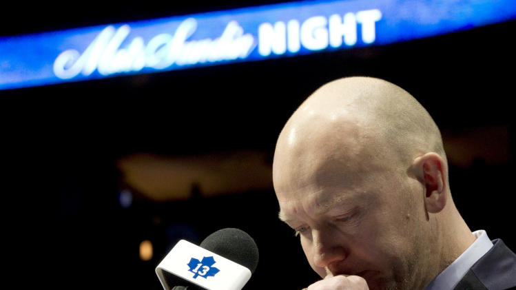 Former Toronto Maple Leafs captain Mats Sundin composes himself as he speaks before his No. 13 is raised to the rafters prior to an NHL hockey game between the Maple Leafs and the Montreal Canadiens in Toronto on Saturday, Feb. 11, 2012. (AP Photo/The Canadian Press, Frank Gunn)