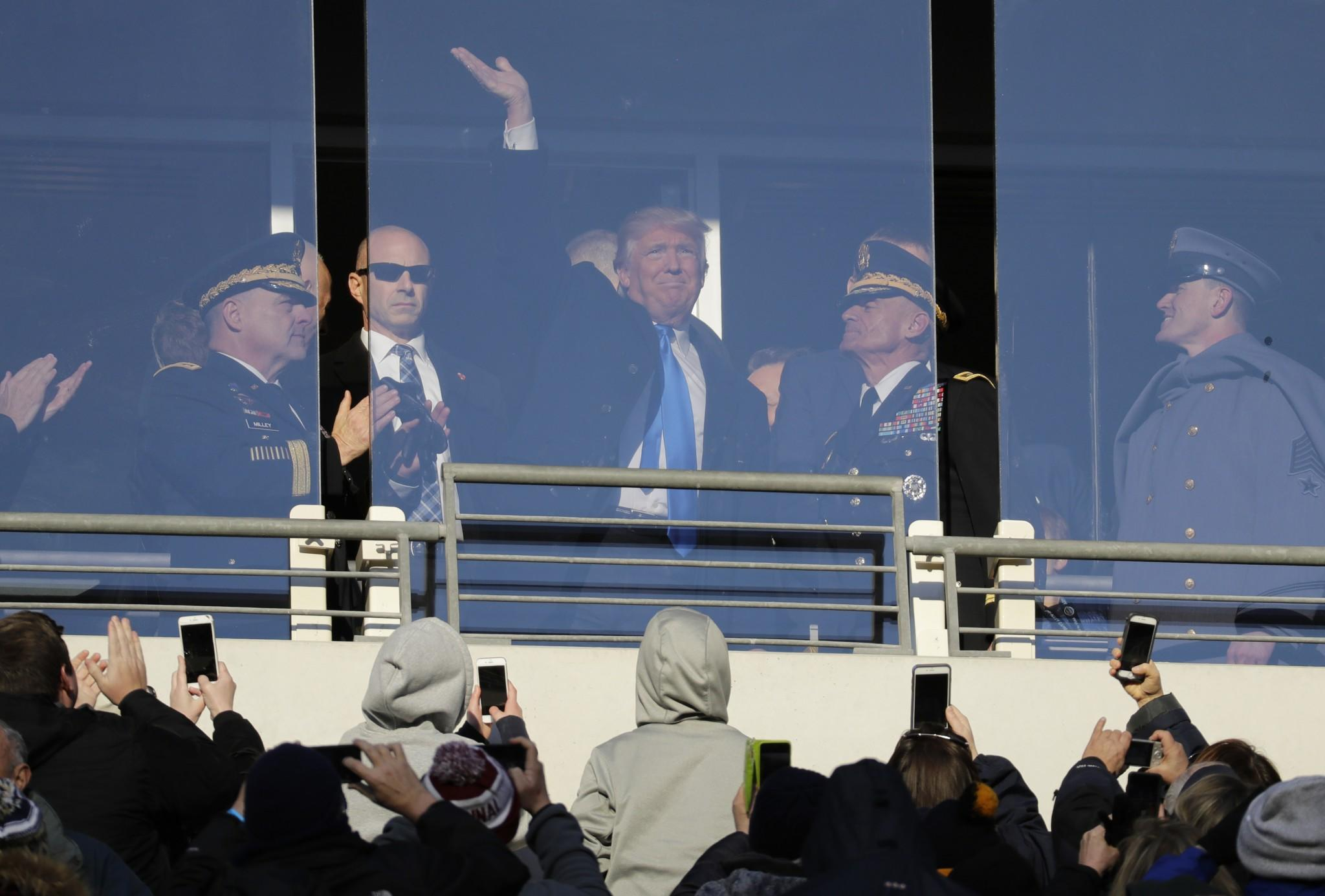 Donald Trump didn't seem impressed by the quality of the Army-Navy football game (Video)
